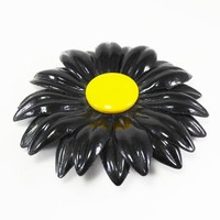 Flower Power Brooch Black and Yellow Plastic Floral Pin Vintage 1960's 1970's Large Flexible Rubber Like Jewelry  Plastic Flowers