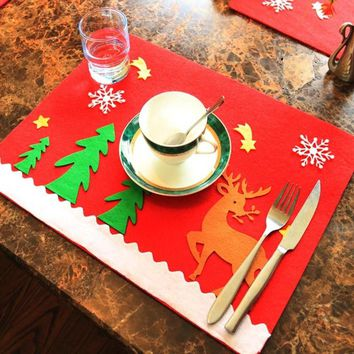 Christmas Table Mat Desktop Decoration Party Placemat Home Supplies