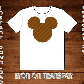 Brown Disney Mickey Mouse Head Template Clip Art PNG File Included Sized for Iron On Transfer Scrapbooking Instant Download