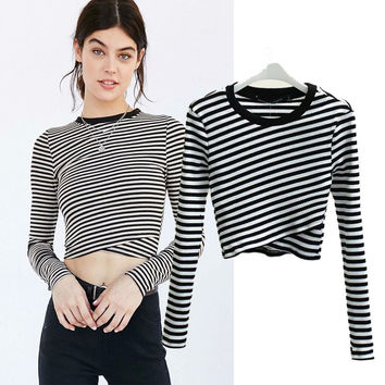 Women's Fashion Stripes Round-neck Long Sleeve T-shirts Bottoming Shirt [6047489345]