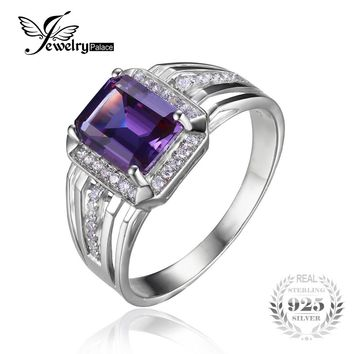 JewelryPalace 925 Sterling Sliver Russian Design Alexandrite Sapphire Engagement Wedding Ring For Men Genuine Men's Jewelry