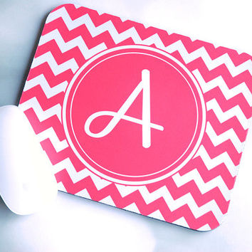 Bold Coral Pink Chevron Monogram Mouse Pad + Personalized Mouse Pad