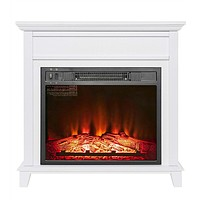 Electric Fireplace in White Wood Finish Heats up to 400 Sq Ft