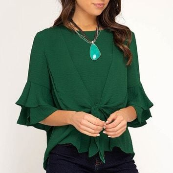 A Beautiful Night Ruffle Sleeve Green Top