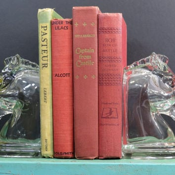Indiana Glass Horse Head Book Ends 1940s Clear Bookends