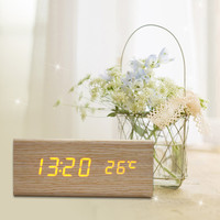 DU# Sound Control USB Solid Wooden Desk Bedside Digital Alarm Clock Tempreture Display Orange Light New Promotion Free Shipping