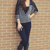Paved With Gold Cardigan: Black/Gold