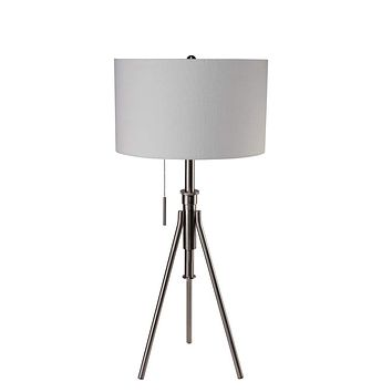 Tripod Table Lamp In Satin Nickel With Pull Chain Silver