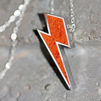 Lightning Bolt Pendant / Necklace - Stainless Steel with Orange Tinted Concrete & Clear Crushed Glass