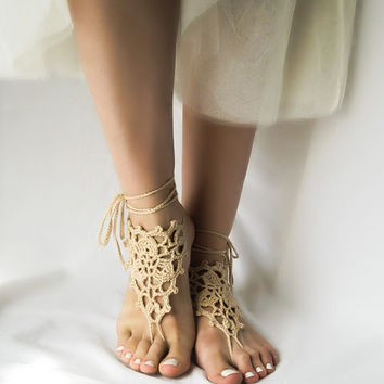 Beige Wedding Barefoot Sandles, Tan Crochet Beach  Sandals, Bohemian Anklet Jewelry, Victorian Lace Nude Shoes, Dance Hippie Bare Foot  Wear