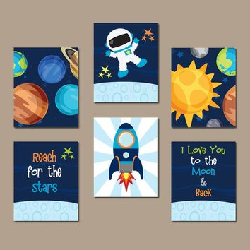 Outer Space Wall Art, Baby Boy Nursery, Bedroom Pictures, Love You to the Moon and Back CANVAS or Prints Rocket Theme Set of 6 Planet Decor