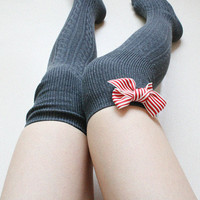 YUJIN ribbed cable Grey over knee socks Boot Thigh high socks Leg warmer Preppy Sexy Pin up Retro Gift for her