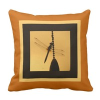 Dragonfly on Chain, Silhouette on Goldenrod/Pumpki Throw Pillows