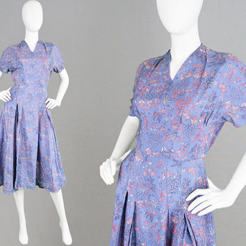 Vintage 40s Novelty Print Dress Pale Blue 1940s Dress Silk Tea Dress Oriental Asian Print Rockabilly Dress 40s Midi Dress 1950s Style Dress