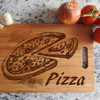 ikb22 Personalized Cutting Board Wood Pizza Italian food kitchen pizzeria