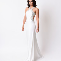 Ivory Sexy Fitted Halter Cutout Long Dress 2016 Prom Dresses