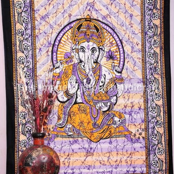 Hippie Indian Tapestry, Cotton Ganesha Bed Cover, Bohemian Wall Hanging, Indian Wall Hanging, Twin Ganesha Tapestry, Etchnic Decor Art