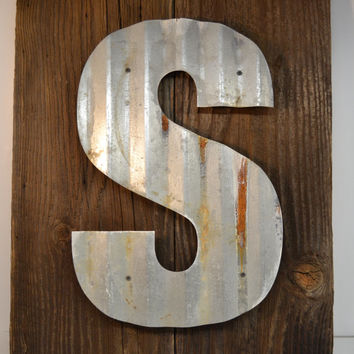 Sign Reclaimed Barn Wood Monogram Initial Personalized Rustic Handmade Upcycled Patina Corrugated Steel Beach House Vacation Home
