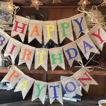Colorful Birthday Name Banner, Happy Birthday Banner, Birthday Garland, Birthday Garland, Birthday Banner, Burlap Bunting, Happy Burlap