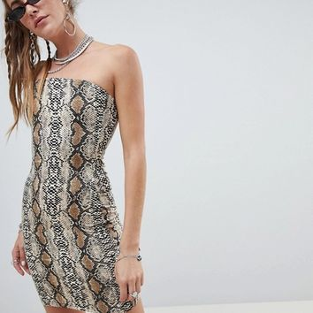 One Above Another bodycon bandeau dress in snake print at asos.com