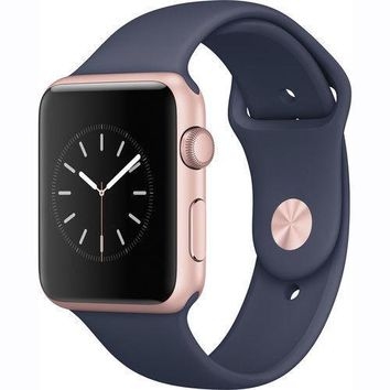 Apple Watch Series 1 42mm Rose Gold Aluminum Case Midnight Blue Sport Band