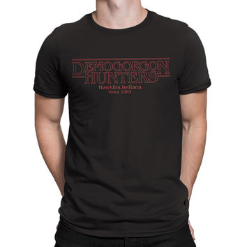 Stranger Things T Shirt Inspired-Demogorgan Hunters tee shirt black Netflix