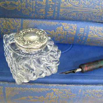 Sweet little antique inkwell ~ fluted glass with sterling lid