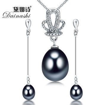 Dainashi 925 sterling silver natural freshwater pearl fine jewelry for women long earrings and necklace sets