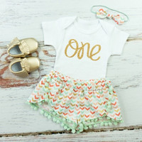 Girls First Birthday Shorts Outfit | Mint, Gold, Coral Broken Chevron Shorts with mint pom pom trim