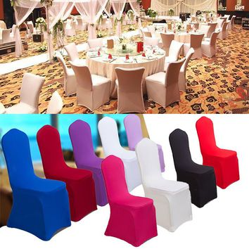 New Universal Chair Covers Stretch Polyester Spandex For Party Weddings Banquet Hotel Decoration Decor