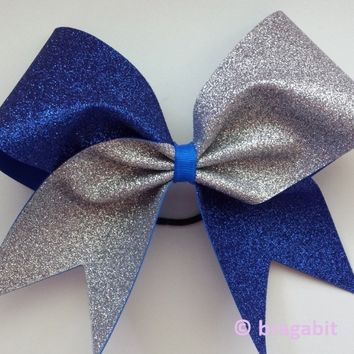 Royal blue and silver glitter cheer bow