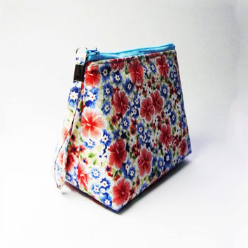 Oriental Blue Red Floral Wedge Bag,Cosmetic Bag,Makeup Bag,Toiletry Bag,Vanity Beauty Bag,Nail Polish Bag Gift For Her,Girls,Women,Mothers