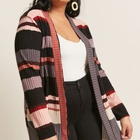 Plus Size Stripe Cardigan