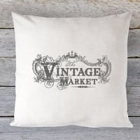 Vintage Market Pillow Cover - Vintage Ad Pillow, Shabby Chic Pillow, Farmhouse Decor, French Decor, Farmhouse Pillow, 16 x 16, 18 x 18