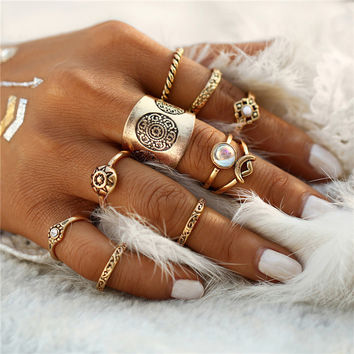 2017 9pcs/set Vintage Turkish Flower Pattern Resin Midi Ring for Women Punk Fashion Boho Men Rings Set Anillos Gift  JM0510
