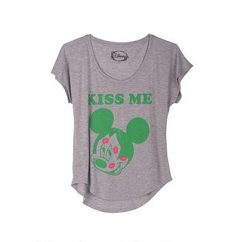 Vintage Inspired Womens Mickey Mouse Kiss Me Dolman Shirt