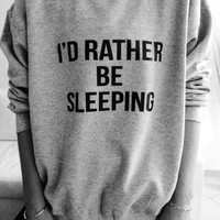 rather sleep White CrewNeck