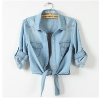 New Summer Women Casual Cropped sleeves Sleeve Denim Shirts women's Fashion Short Blouses Hot Girls Slim Tops