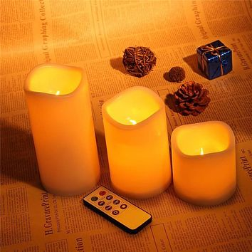 Romantic 3Pcs/set  wireless remote control  operated led flame-less candles