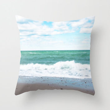 "SALE Teal Blue Green Ocean SAVE 20 Percent 18"" Throw Pillow Cover - Super Soft Velveteen - READY to Ship"