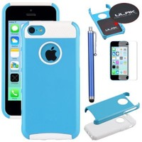 iPhone 5C Case, iPhone 5C Cover, iPhone 5C Cases, ULAK(TM) Hybrid Rubber Rugged Combo Matte TPU + PC 2-Piece Style Soft Hard Case Cover for iPhone 5C with Screen Protector and Stylus (Blue + White)