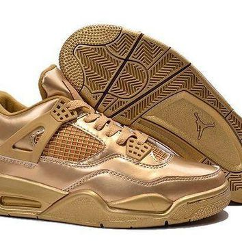 PEAPVX Jacklish Air Jordan 4 Retro Custom Liquid Metal All Gold Cheap Sale Online