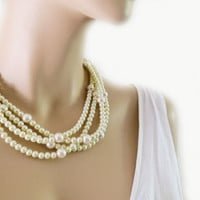 Chunky Pearl Wedding Necklace, Cream Ivory Pearl Layered Bridal Necklace, Bridesmaid Chunky Necklace