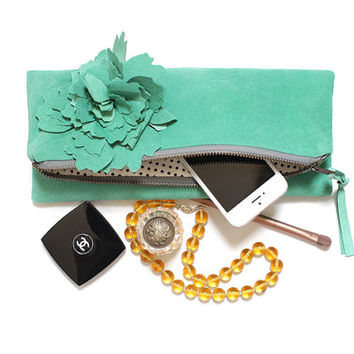 Aqua Suede Women's Clutch, Teal Blue Leather Clutch