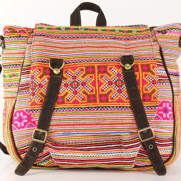 Convertible Bag Gypsy Boho Hippie Cross body/Backpack Purse Floral Hand stitched