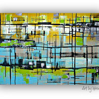 Modern Abstract art  - Original Abstract painting on Canvas Modern Wall Art by heroux,