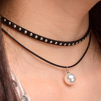 N1044 Simulated Pearls Punk Gothic Style Necklaces For Women Black Rivet Rope Necklace Fashion Jewelry Collares Bijoux