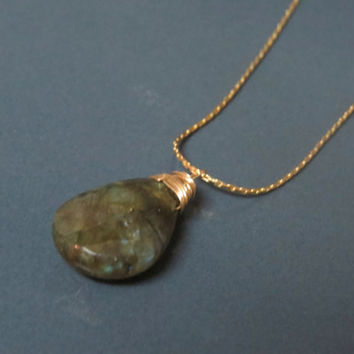 Gold Labradorite necklace gemstone, Gold Labradorite pendant necklace, Gold layered necklace