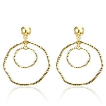 Fashion Women'S Popular Hoop Earrings Gold Color Simple Round Statement Earrings
