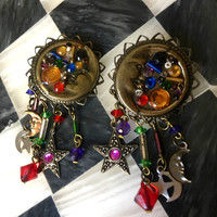 Celestial Vintage Sun Moon Stars Bronze Tone Scrollwork Drop & Dangles with Rainbow Colored Gem Charms late 80's early 90's